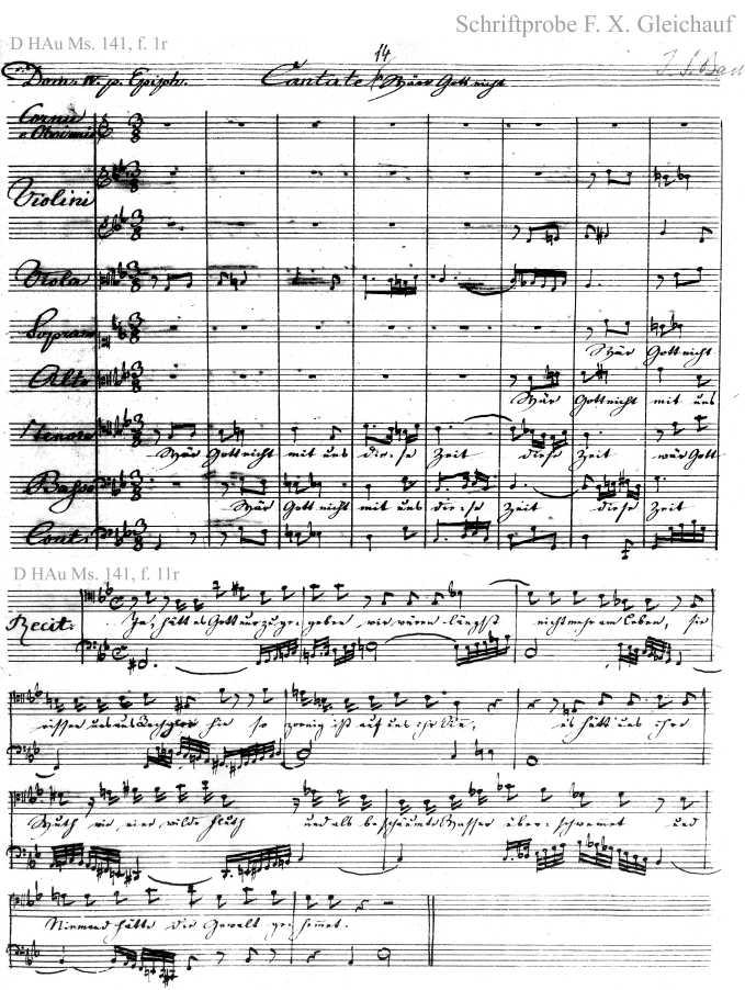 Bach digital: Handwriting sample 2
